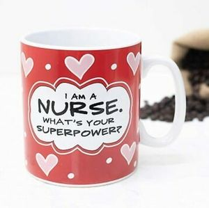 Nurse superpower red hearts 30 oz large coffee mug